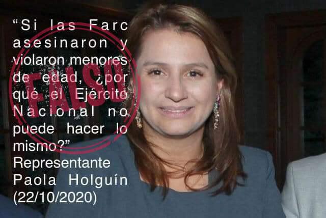 Meme que le atribuye frase falsa a Paola Holguín