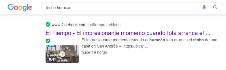 Búsqueda en Google muestra que El Tiempo también compartió el video