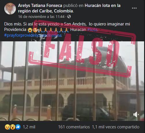 Publicación en Facebook que presenta el video como si fuera en San Andrés