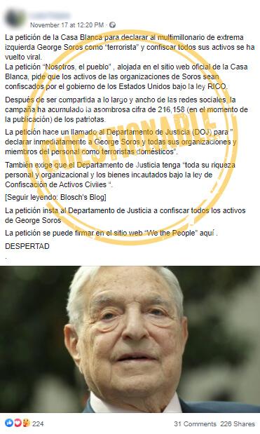 Publicación cuestionable en Facebook sobre petición contra Soros