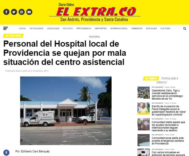 Noticia de 2017 sobre crisis del hospital de Providencia en diario local