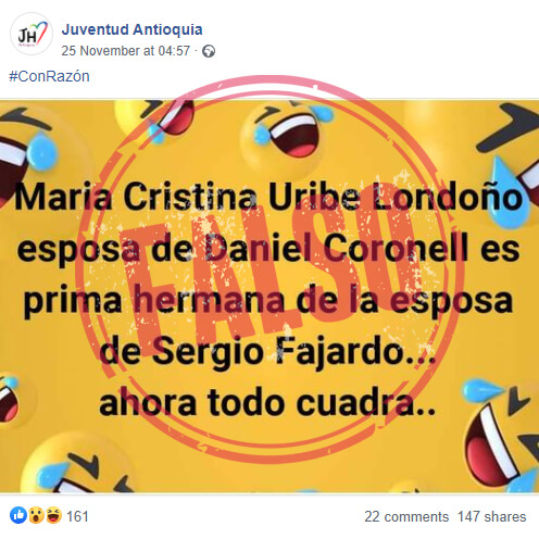 Publicación falsa en Facebook sobre María Cristina Uribe y Sergio Fajardo