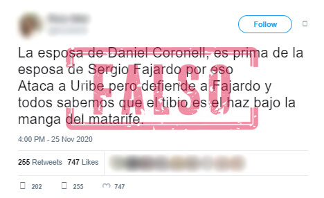 Trino sobre falso parentesco entre esposas de Fajardo y Coronell