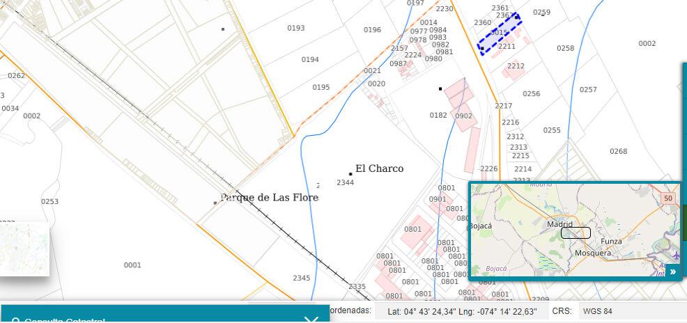 Mapa IGAC de la zona donde compraron los terrenos los Uribe en Mosquera
