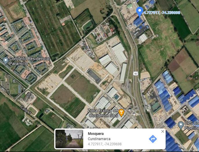 Mapa Google de la zona donde compraron los predios los Uribe en Mosquera