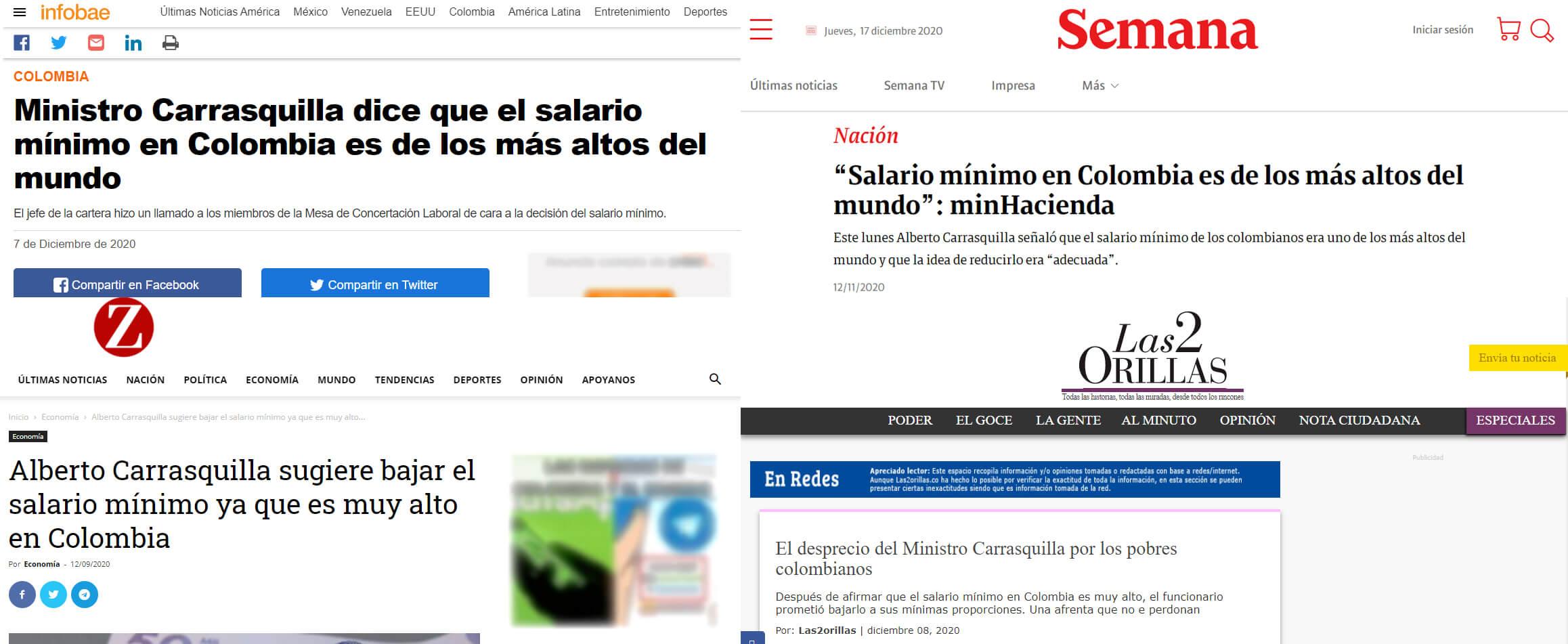 Titulares sobre la frase de Carrasquilla con respecto al salario mínimo