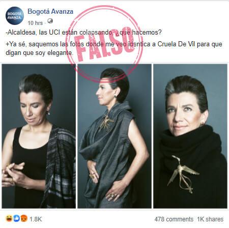 Publicación de 'Bogotá Avanza' sobre fotoestudio de Claudia López