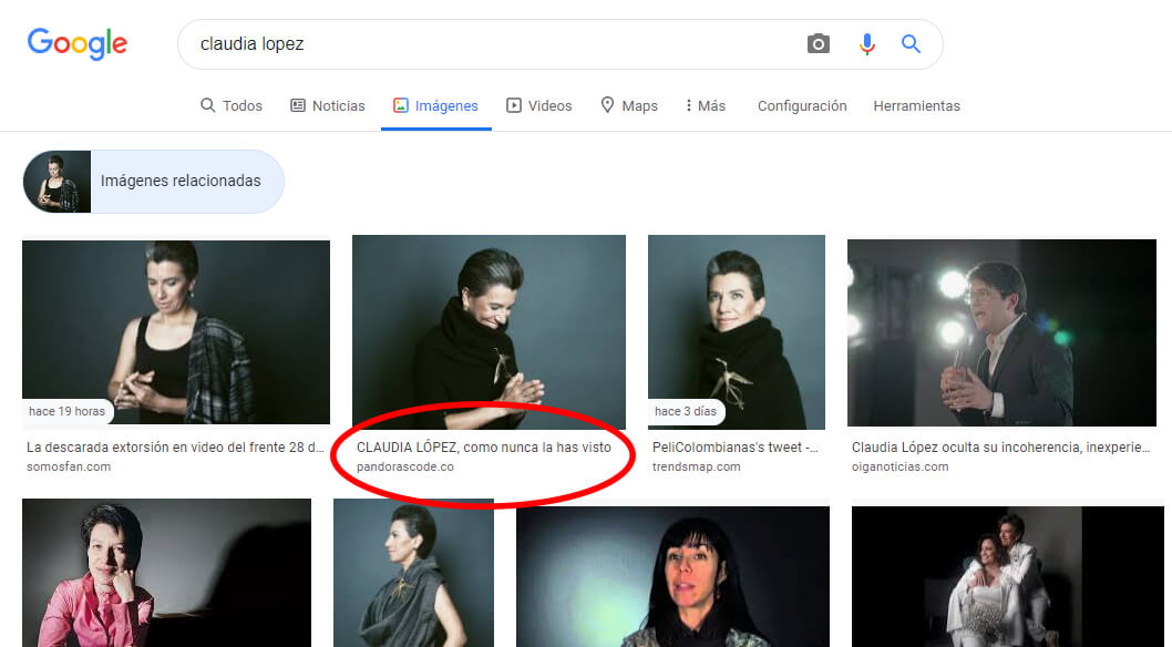 Búsqueda inversa en Google del fotoestudio de Claudia López