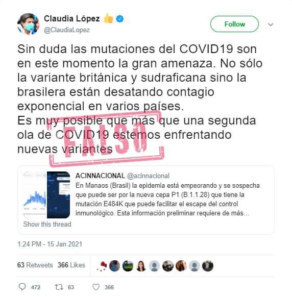 """Trino de Claudia López sobre """"nuevas variantes"""" de COVID-19 en Bogotá"""