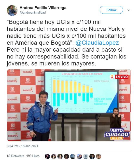 Trino de Andrea Padilla con cita de Claudia López sobre comparación de UCI