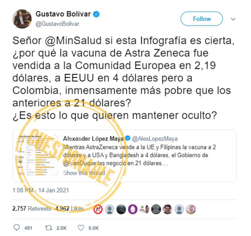 Trino de Gustavo Bolívar con otro de Alexander López sobre precios de vacunas