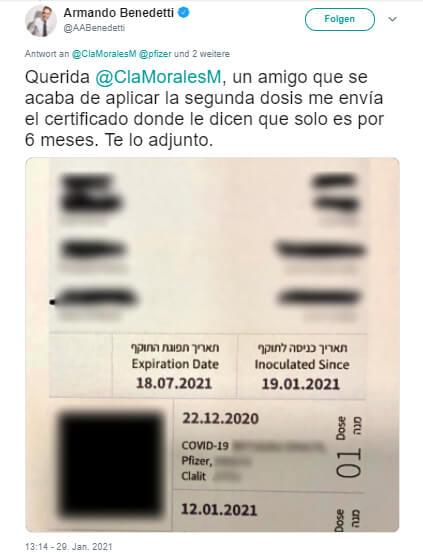Trino de Benedetti con certificado de vacuna COVID-19 israelí (datos difuminados)