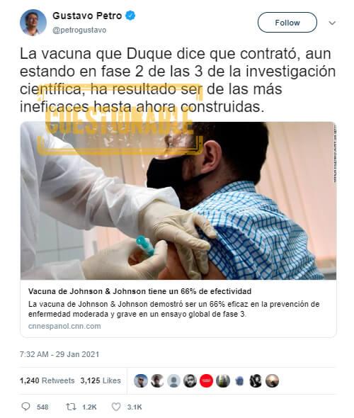 Trino de Gustavo Petro sobre eficacia de la vacuna Janssen contra COVID-19