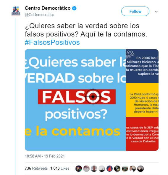 """Trino del Centro Democrático sobre la supuesta """"verdad"""" de los 'falsos positivos'"""