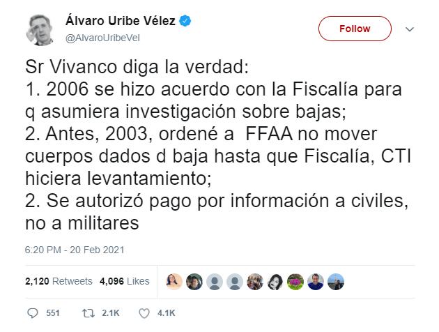 Trino de Álvaro Uribe sobre supuestas medidas de su gobierno contra falsos positivos
