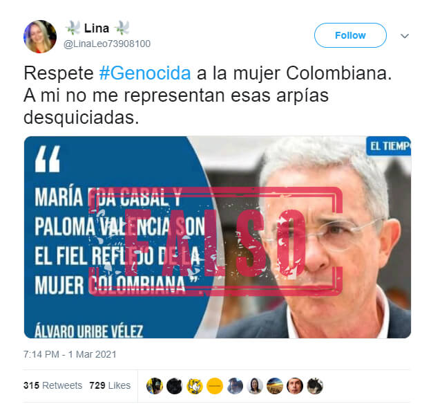Trino con frase falsamente atribuida a Álvaro Uribe sobre Paloma Valencia y María Fernanda Cabal