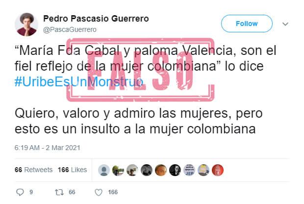 Trino con frase apócrifa de Uribe sobre senadora Valencia y Cabal en El Tiempo