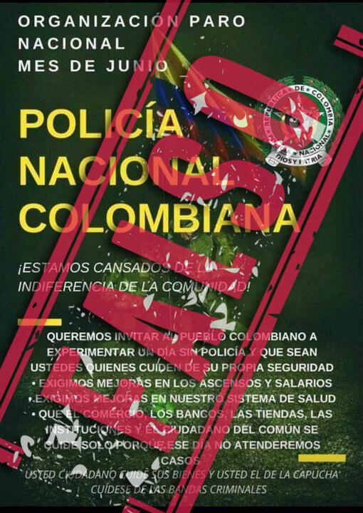 Falso comunicado de la Policía que anuncia paro nacional en junio 2021