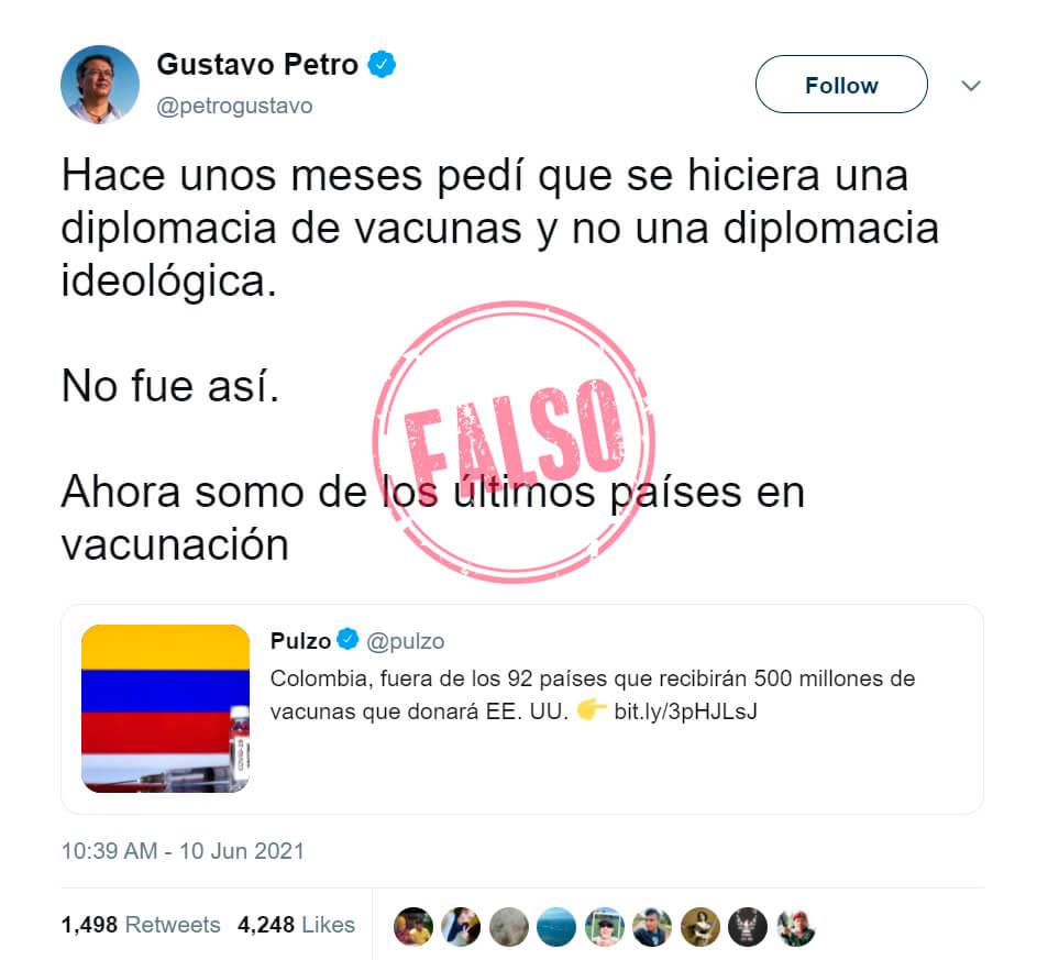Trino de Petro con afirmación falsa sobre vacunación contra COVID-19