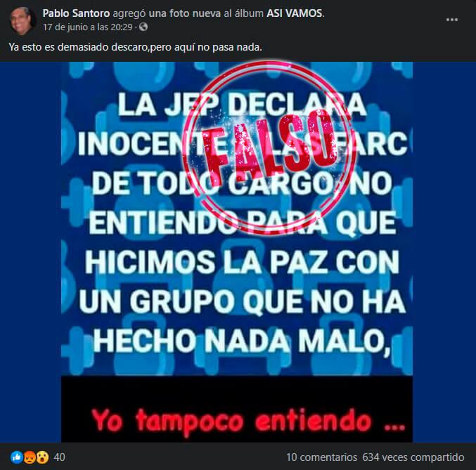 Meme dice falsamente que JEP declaró a FARC inocentes de todo cargo