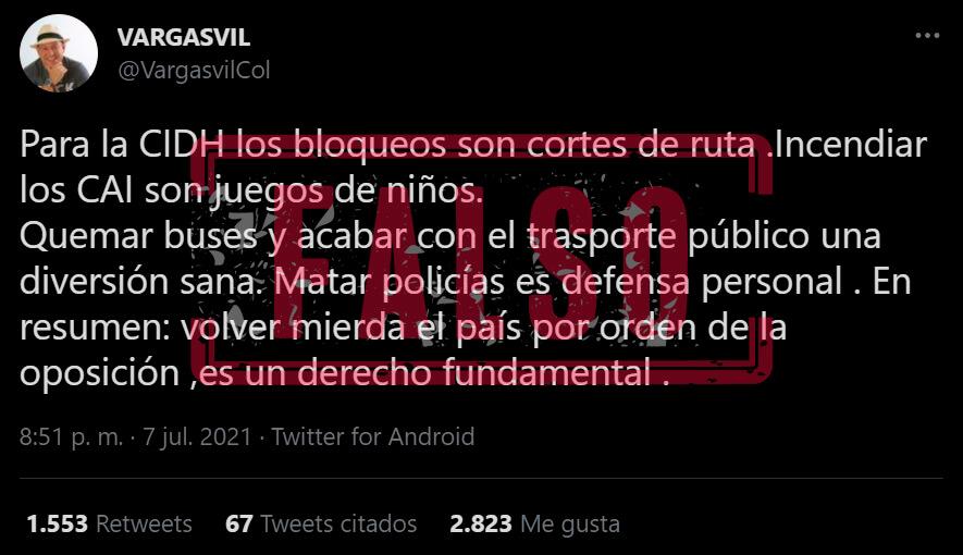 Trino de Vargasvil con falsedades sobre la CIDH