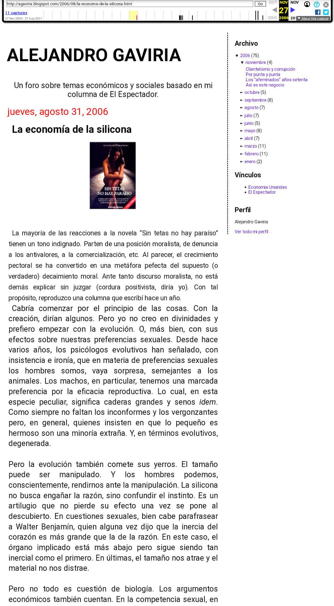 Pantallazo del artículo de Gaviria sobre la silicona en Wayback Machine
