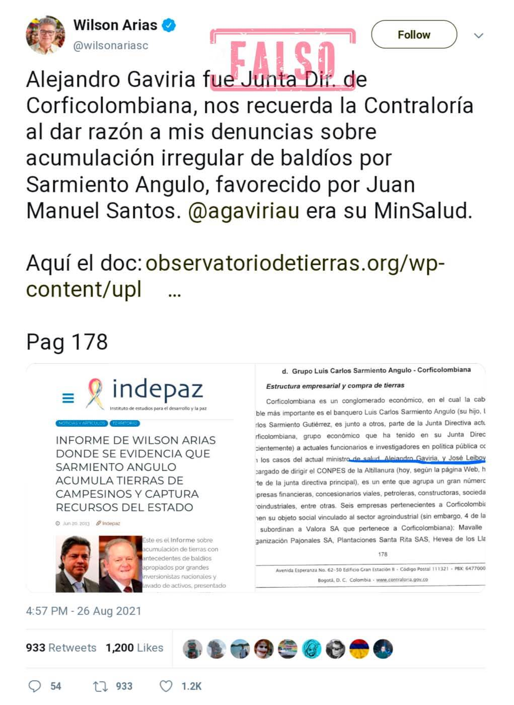 Pantallazo trino de Wilson Arias contra Alejandro Gaviria con acusación falsa sobre su supuesta relación con Corficolombiana y acumulación de baldíos