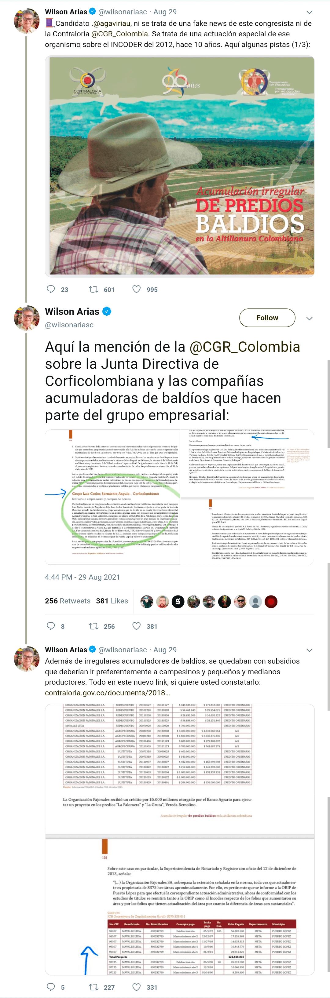 Hilo en Twitter de Wilson Arias en el que insiste sobre falsa relación entre Alejandro Gaviria y Corficolombiana