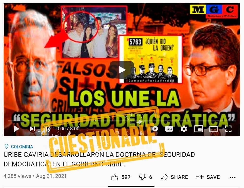 Pantallazo del video cuestionable sobre Uribe, Alejandro Gaviria y la seguridad democrática