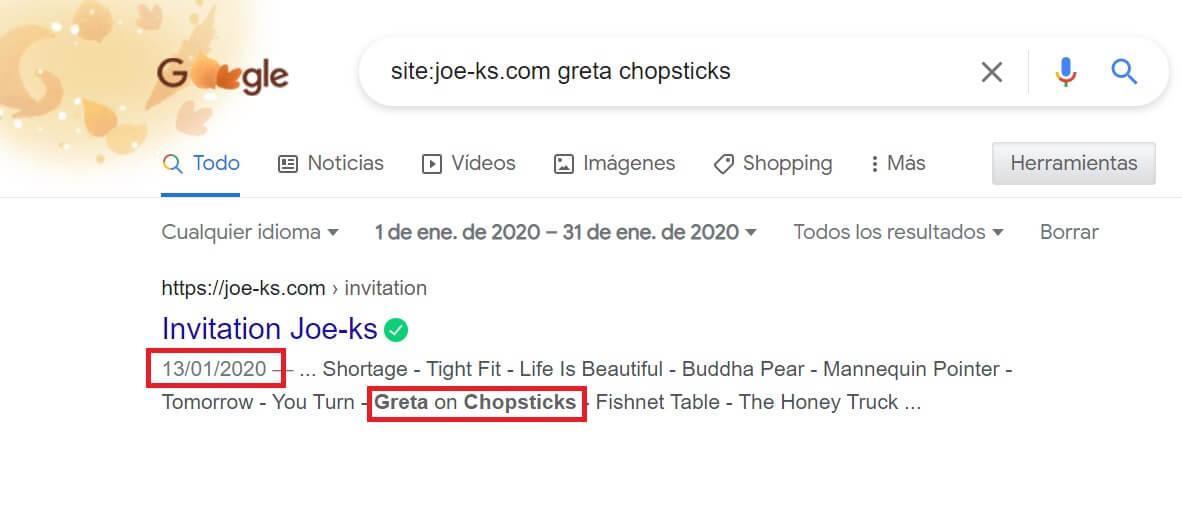 "Pantallazo de la búsqueda por ""Greta chopsticks"" en Joe-ks.com"