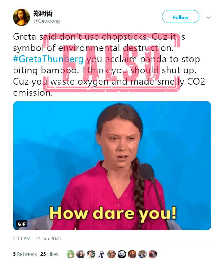 Pantallazo de trino de enero de 2020 con desinformación sobre Thunberg y palillos