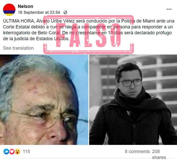 Pantallazo de publicación de noticia falsa sobre Álvaro Uribe y Beto Coral
