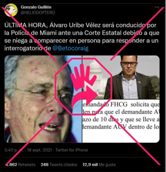 Pantallazo de trino falso de Gonzalo Guillén sobre Uribe y Beto Coral