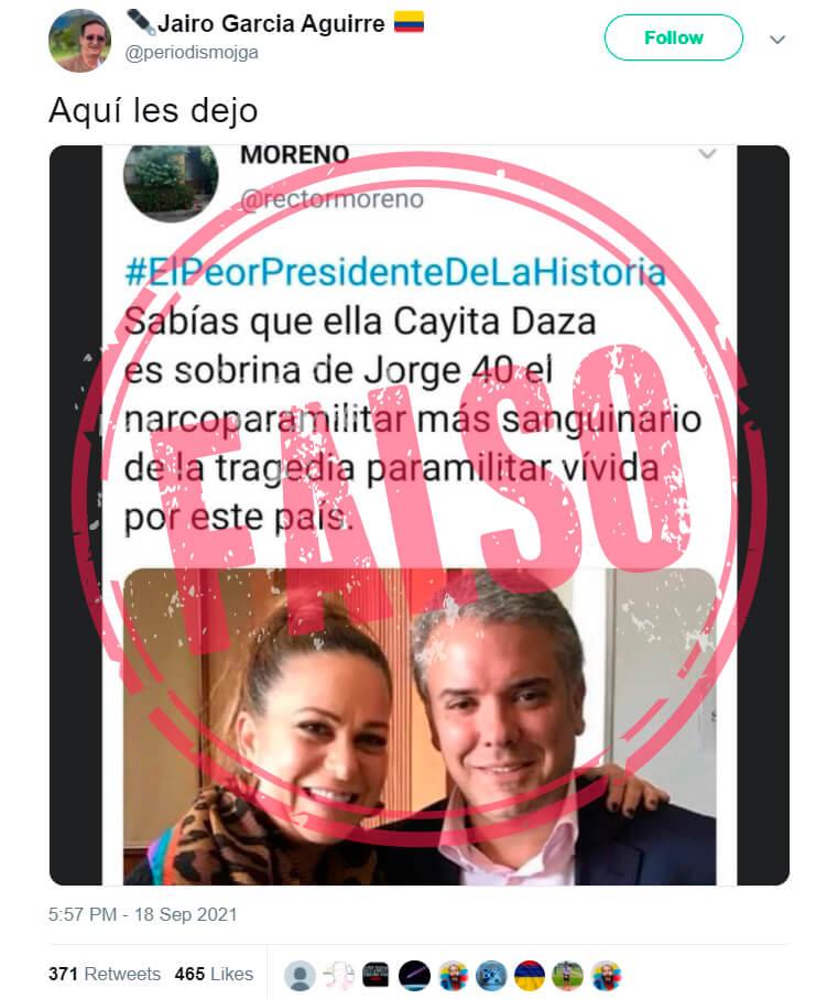 Trino que replica desinformación sobre Caya Daza y Jorge 40