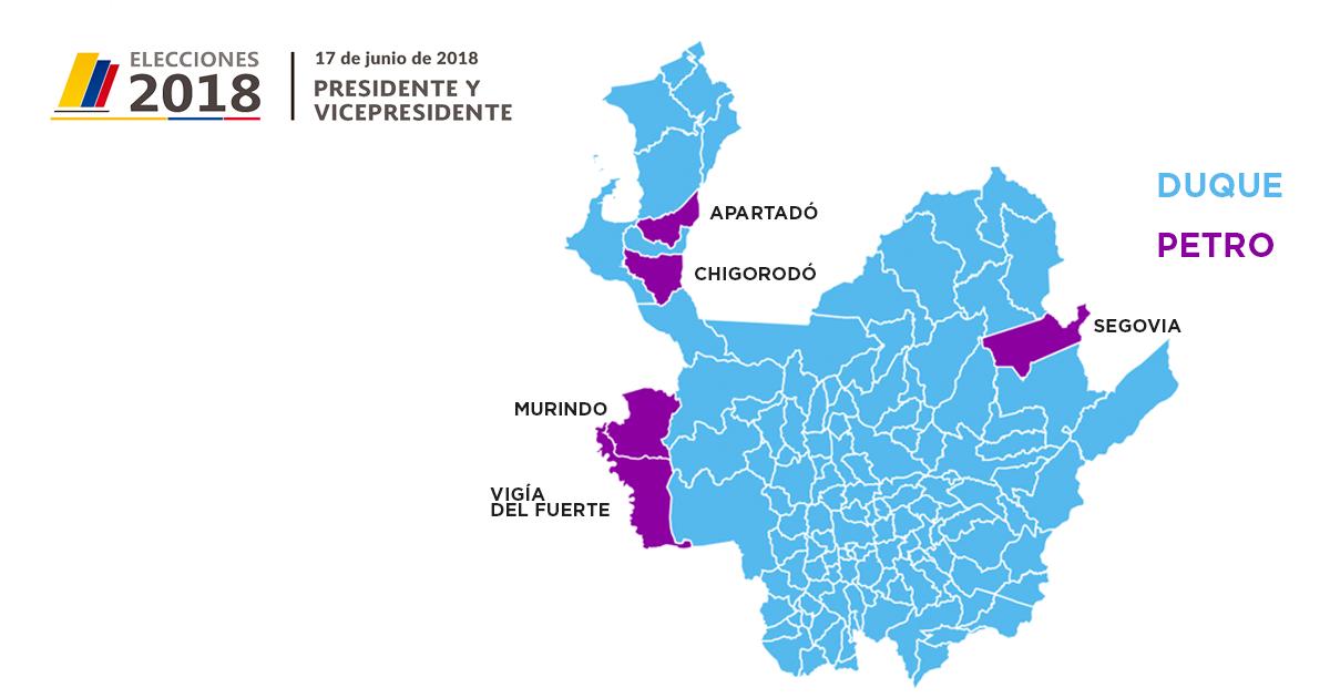 Mapa Duque-Petro en Antioquia