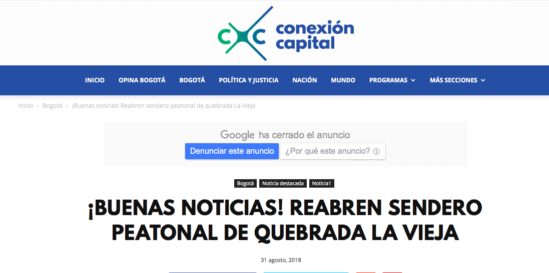 Falsa noticia de reapertura del sendero de La Vieja en Canal Capital