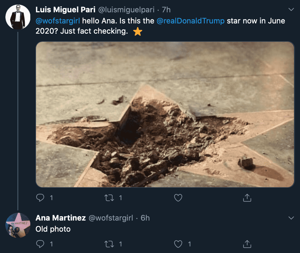 La foto de la estrella de Trump destruida es de 2018