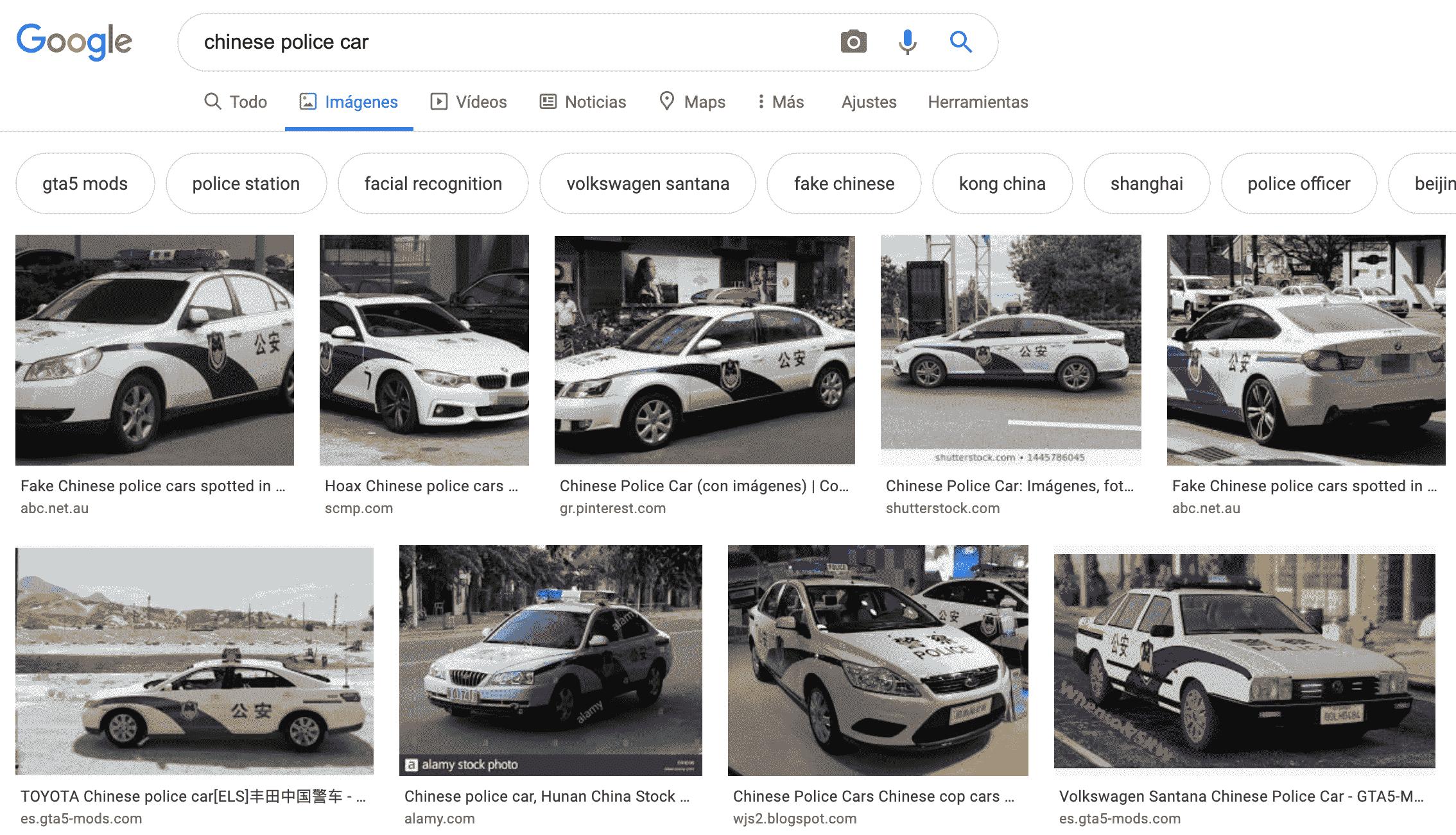 Carros de la policía de China - Google