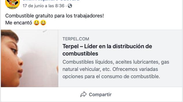 Captura de pantalla Facebook