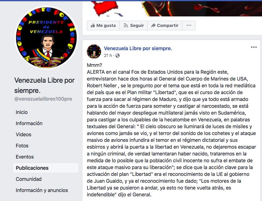 Captura de pantalla de la página de Facebook Venezuela Libre por siempre