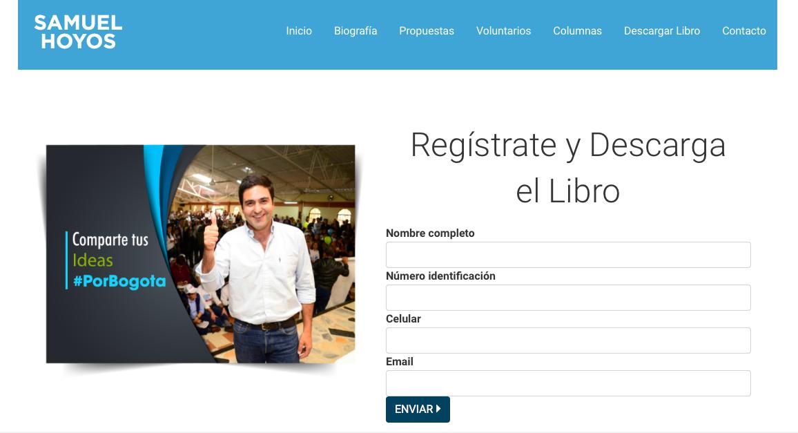 Captura de pantalla página Samuel Hoyos