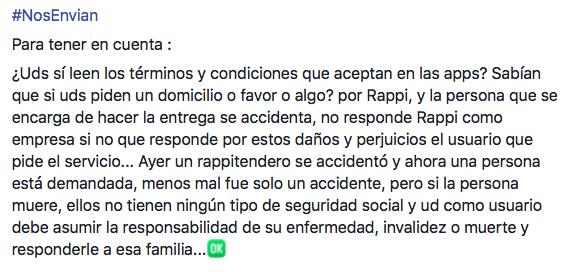Captura de pantalla desinformación Rappi