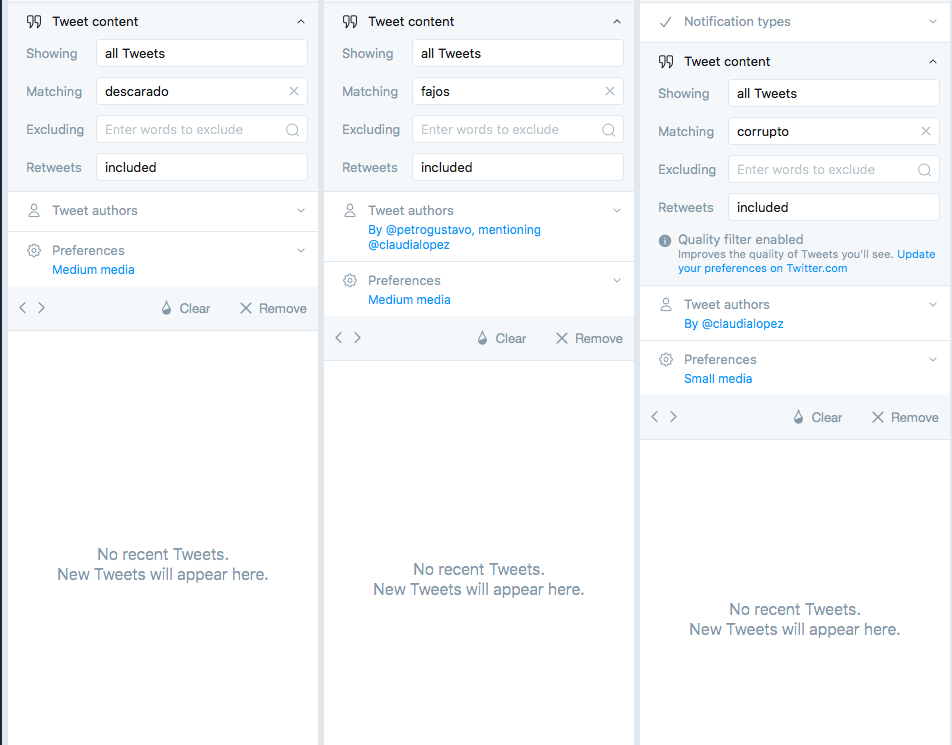Captura de pantalla TweetDeck