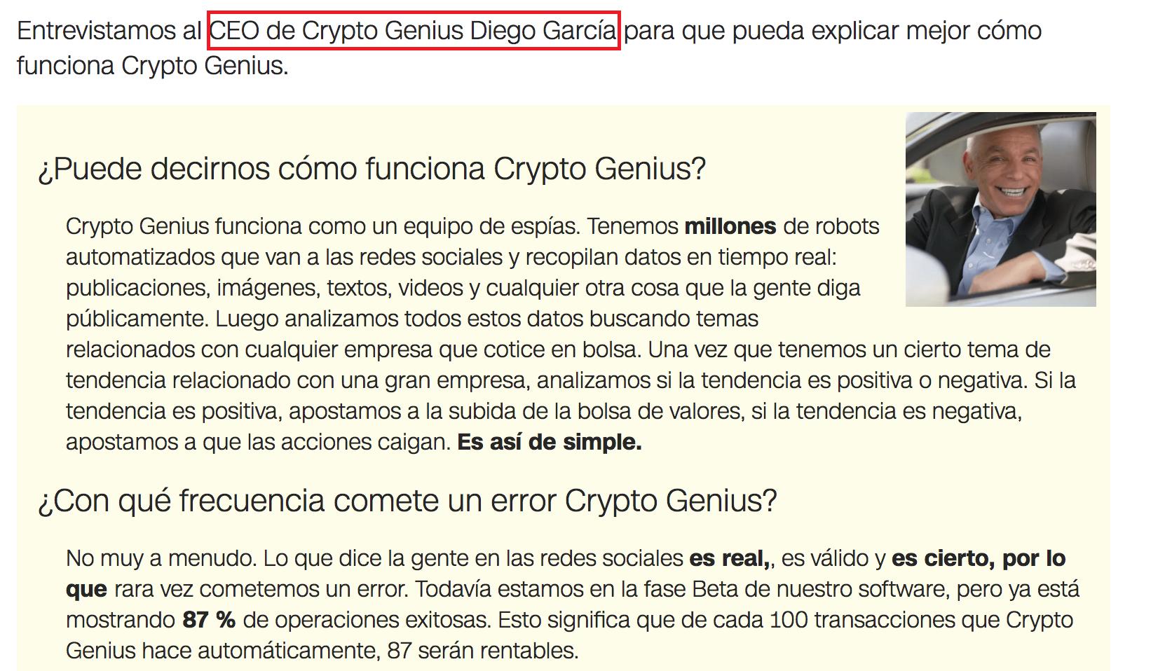 Estafa Crypto Genius