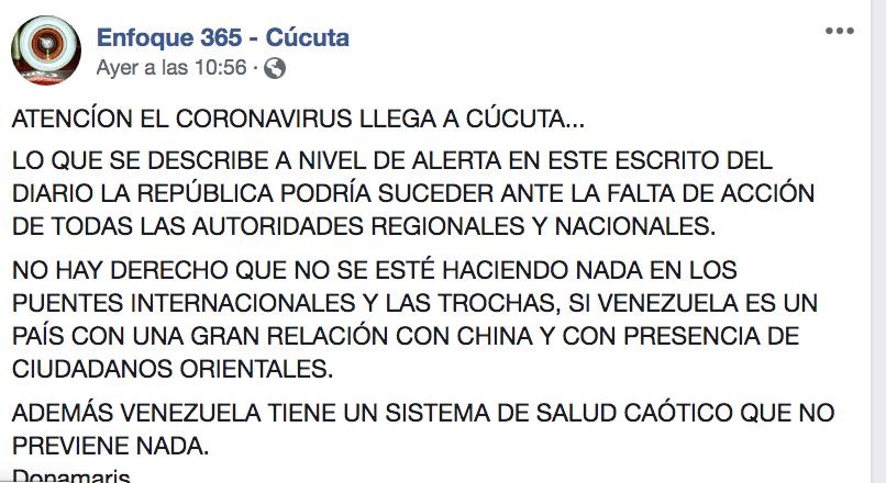Pantallazo de trino de información falsa sobre coronavirus en Cúcuta 2