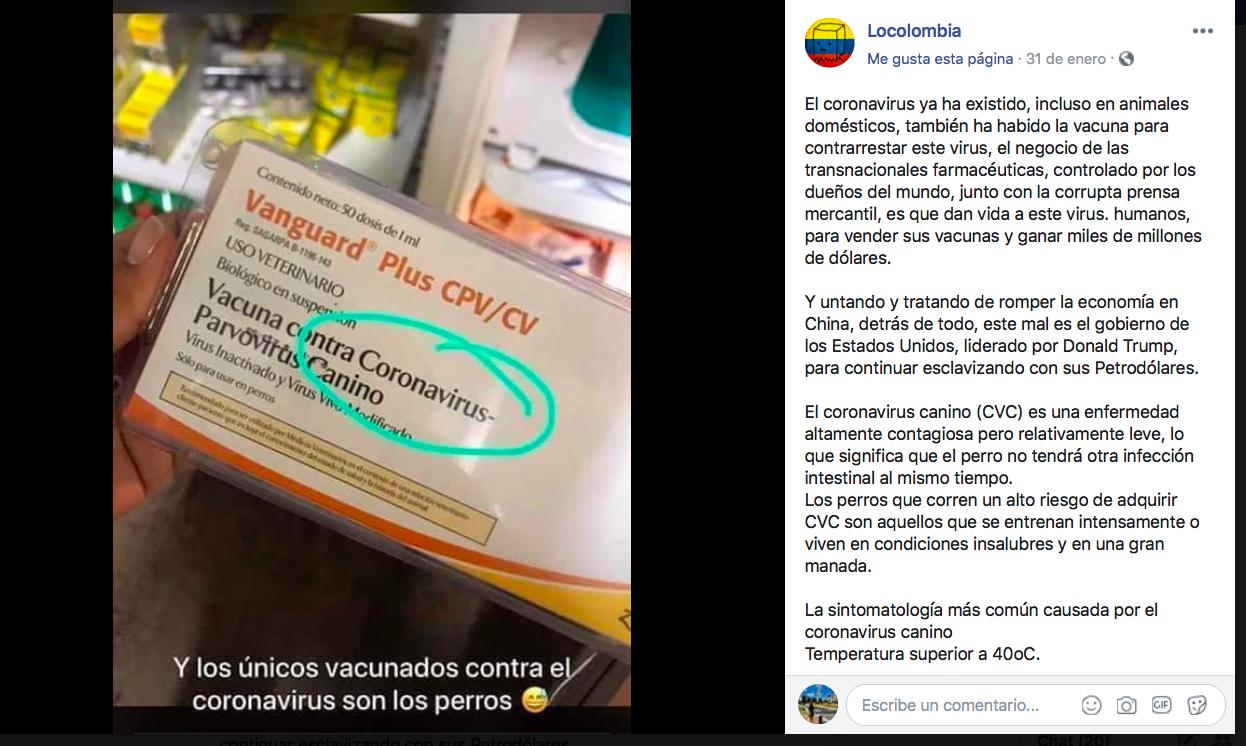 Captura de pantalla de la página de Facebook que difunde la desinformación