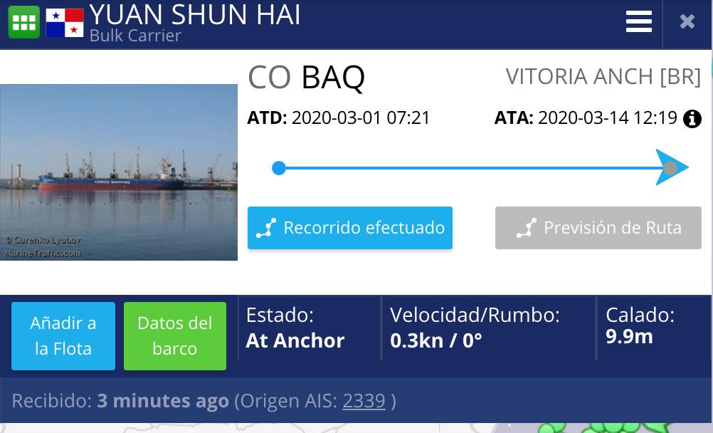 pantallazo de página de rutas de buques