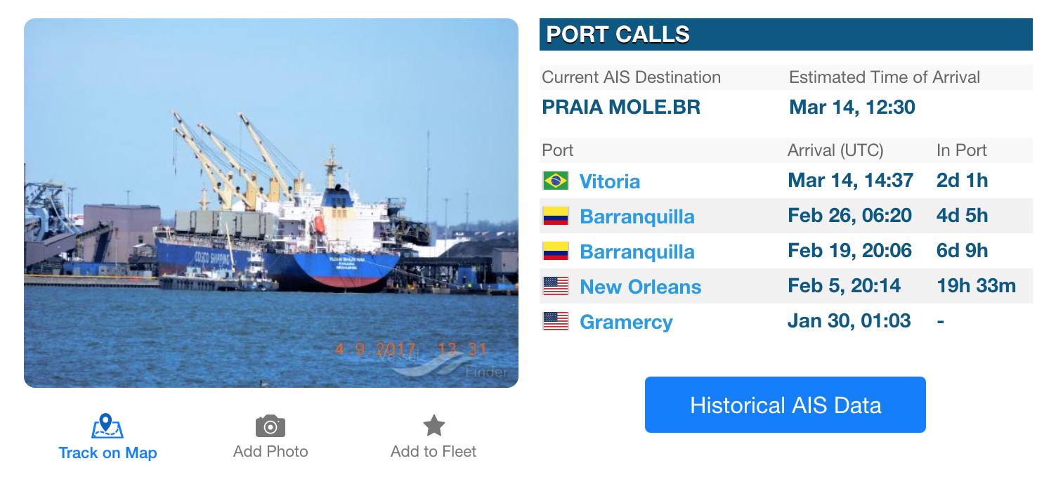 pantallazo de página de buques