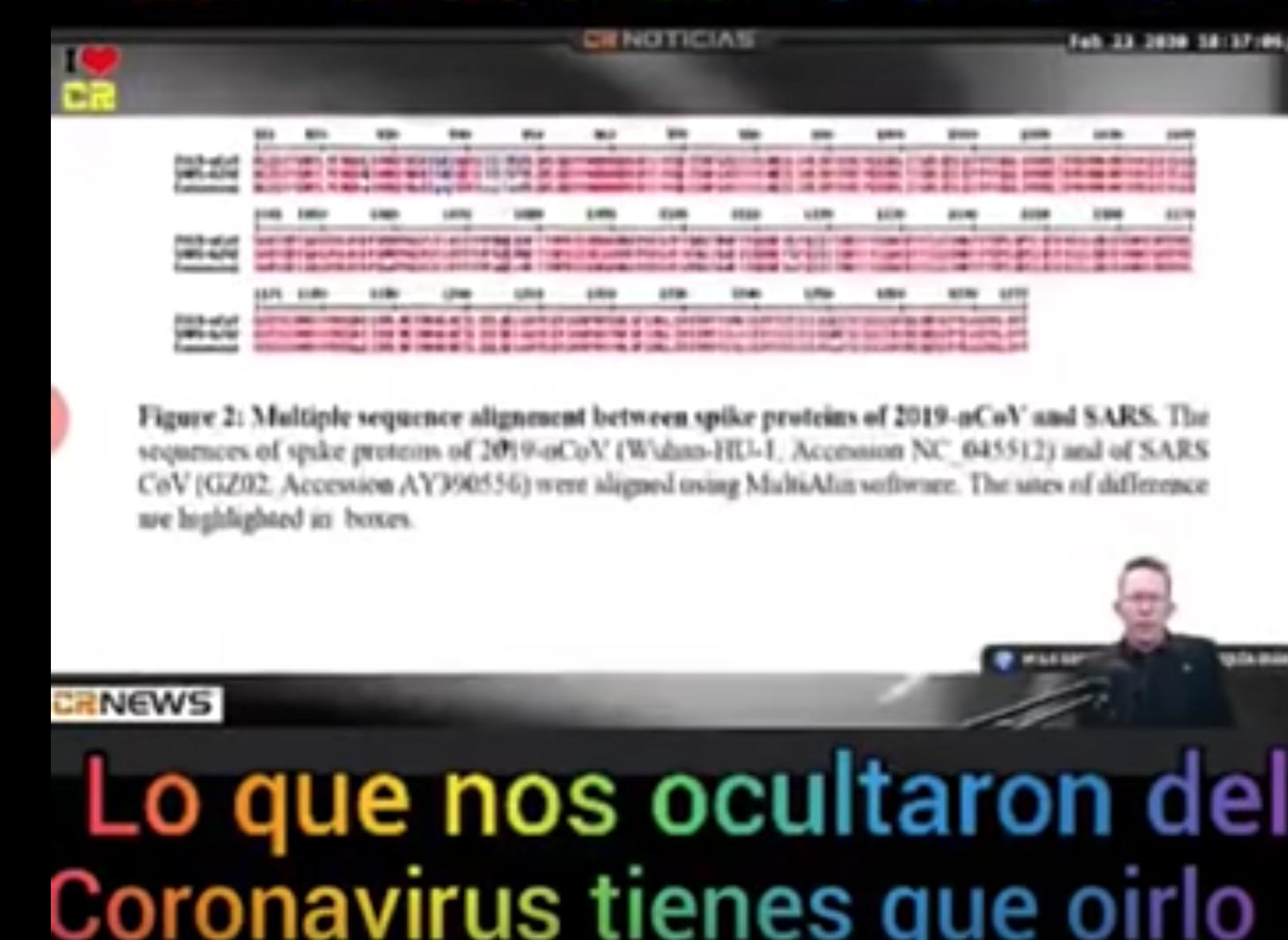 pantallazo del video de la supuesta secuencia que demuestra que el coronavirus fue creado en un laboratorio