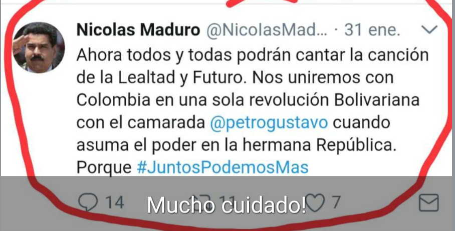 Pantallazo de falso trino de Maduro 2